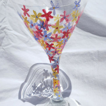 Hand-Painted Floral Martini Glass- Pink Blue Yellow