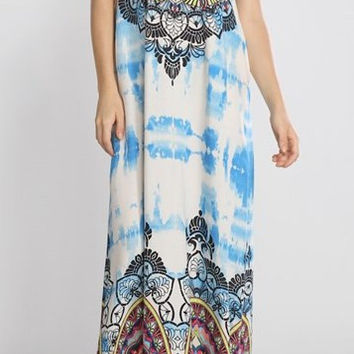 Eliza Bella for Flying Tomato Hippie Piece Print Blue Maxi Dress SML
