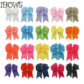 "High Quality 20 Colors in stock 5""Grosgrain Ribbon Hair Cheer Bow With Clip Girls Big Solid Bow Hair Clips Accessories"