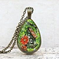 Birdhouse Teardrop Necklace: Lynda Wheeler Art