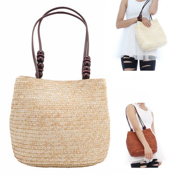Women Retro Wooden Beads Beach Shoulder Bags Straw Woven Bags Tote