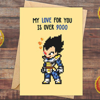 Dragon Ball Z, Valentine Card Boyfriend, Valentine Card Girlfriend, Valentines Card, Anniversary Card, Super Saiyan, Over 9000, DBZ, Vegeta