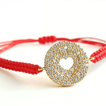Red string bracelet, best friend birthday gift, heart bracelet, zircon bracelet, fashion jewelry, style, adjustable bracelet, christmas gift