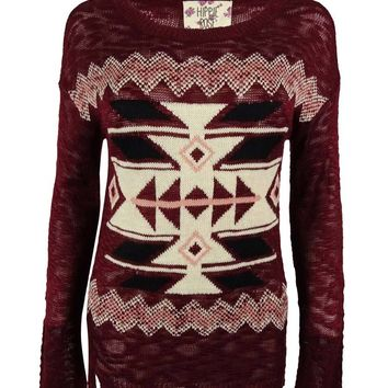 Hippie Rose Juniors' Aztec Design Sweater