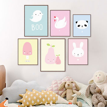 Kawaii Animal Panda Poster Print A4 Modern Nordic Cartoon Nursery Wall Art Picture Kids Baby Room Decor Canvas Painting No Frame