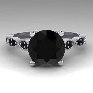 Black Diamond Ring / Bridal Jewelry / Engagement Ring / 14K White Gold / Round 2. Carat Natural Black Diamond Wedding Ring / RE00202R