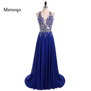 Sparkly Beaded Royal Blue Long Prom Dresses