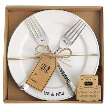 Mr. Mrs. Plate Fork Set by Mud Pie