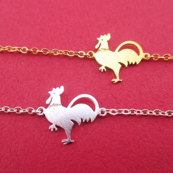 Sriracha Hot Stuff Chicken Rooster Shaped Charm Bracelet in Gold or Silver