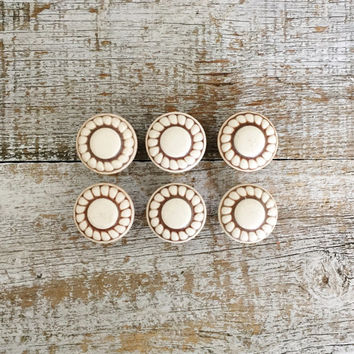 Drawer Knobs 6 Drawer Pulls Brown Ceramic Knobs with Raised White Flower Design Cabinet Drawer Knobs Dresser Drawer Knobs Cottage Chic