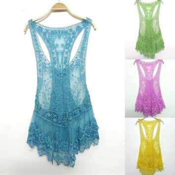 Lady Girl Summer Sweet Lace Crochet Swimwear Bikini Cover Up Beach Dress Tank = 1956899012