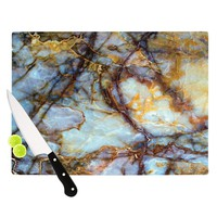 "KESS Original ""Opalized Marble"" Blue Brown Cutting Board - Outlet Item"