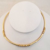 Vtg Modernist Gold Tone Elbow Bead Choker Wire Ring Necklace