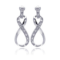Sterling Silver Rhodium Plated Ribbon Stud Earrings