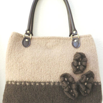 Cafe au Lait Felted Purse Pattern, Knit Bag Pattern, Felted Purse, Knitted Purse, Knitting Pattern, Instant Download, PDF