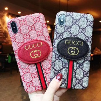 GUCCI New Fashionable Double G Letter Print Mobile Phone Cover Case For iphone 6 6s 6plus 6s-plus 7 7plus 8 8plus X XsMax XR