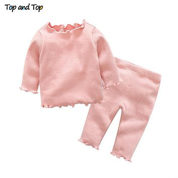 Cute Organic Cotton 2Pcs set Baby Girl Clothing Set Long Sleeve T-shirt Trousers Casual Striped Baby Clothes