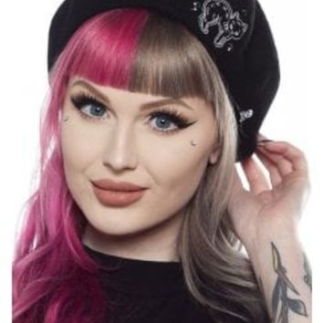 Sourpuss Creep Heart Cat Beret | Attitude Clothing