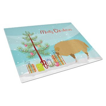 Hungarian Mangalica Pig Christmas Glass Cutting Board Large BB9301LCB