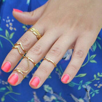 Leaf Knuckle Midi Mid Finger Tip Stacking Chain Rings