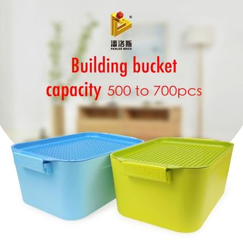 New Storage Box 500PCS Grain Accept Box Spelling Insert Assembling Size Plastic Building Blocks Bucket Toy Compatible With LEGO