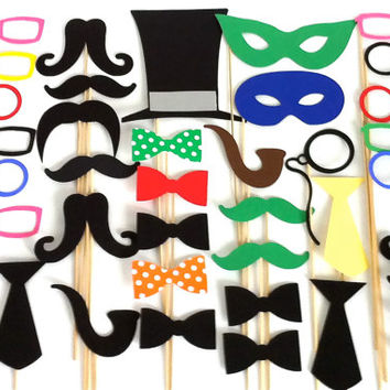 40 Wedding Photo Both Props XXL Large Party Pack of 40 Wedding Photo Booth Props Party Decorations Party Supplies Masks Glasses Mustache