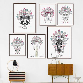 Indian Animals Art Print Poster,  Horse Zebra Wall Pictures Canvas Painting, Native American Home Decor  DE001&2&3