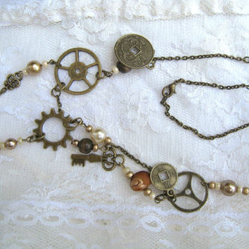 Steampunk Pirate brass beaded necklace earrings jewelry set