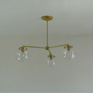 3-Arm Glass Globe Chandelier