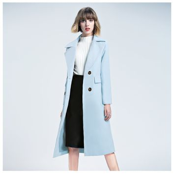 Women's New Fashion Elegant Winter Coat Long Wool Trench Coat Double Breasted Long Sleeve Overcoat Ladies Office Casual Coat