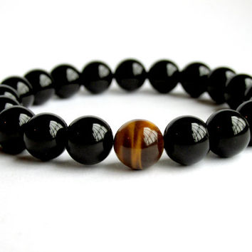 Mens Onyx Bracelet, Tiger Eye Bracelet, Mens Beaded Bracelet, Gift for Him, Gemstone Bracelet, Bracelet for Men, Stretch Bracelet