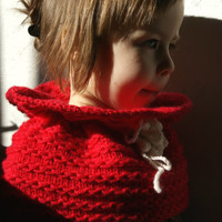Toddler girl infinity scarf, crimson knitted baby scarf
