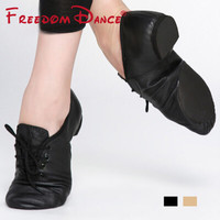 Quality Pig Leather Lace-Up Jazz Dance Shoes Soft Ballet Jazz Dancing Sneakers Black Tan Colors Men Women Free Shipping