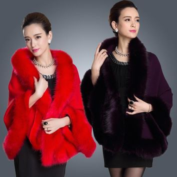 Winter Women's Leather Grass Fox Fur Collar Poncho Cape Dress Shawl Wool Vest Fur Coat