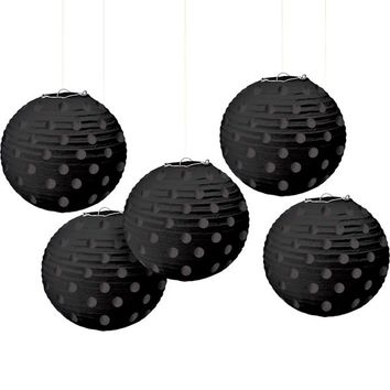 Mini Black Polka Dot Paper Lanterns 5ct