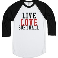 Live love softball Tee T Shirt Tshirt-Unisex White/Black T-Shirt