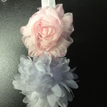In Stock-Baby white and pink flower Headband