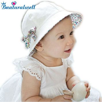 519aabdeada Toddler Hat Infant Baby Girls Floral Bowknot Bucket Hat Two Side