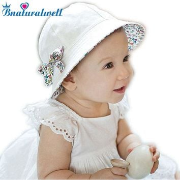 Toddler Hat Infant Baby Girls Floral Bowknot Bucket Hat Two Sided Cotton Beach Cap Summer Outdoor Sunshade Bucket Hats BS097