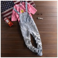 Ripped Jeans Men Brand New 2016 Brand Men Designer Jeans Hip Hop Pants Denim Overalls Mens Overalls Fashion Long Suspender Pants