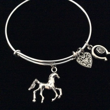 Ladybug Horseshoe with Horse and Heart Silver Expandable Charm Bracelet Adjustable Bangle