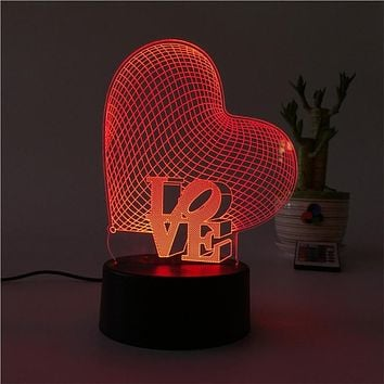 3D Love Heart Shape Lamp Multicolor LED Lights Touch USB Remote Control Night Light