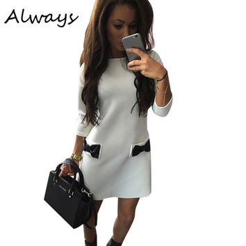 Spring Winter Women Bow Mini Dresses Straight Casual Dress Three Quarter Sleeves Solid Dress