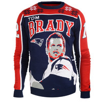 New England Patriots Tom Brady #12 Big Logo Ugly Sweater Sizes S-XXL w/ Priority Shipping