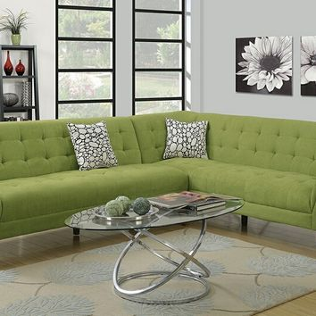 2 pc Retro modern collection willow velveteen fabric upholstered sectional sofa with tufted accents
