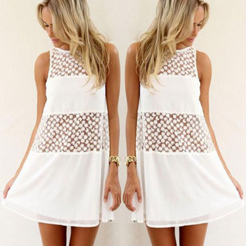 Hollow Out White Crochet Dress for Women