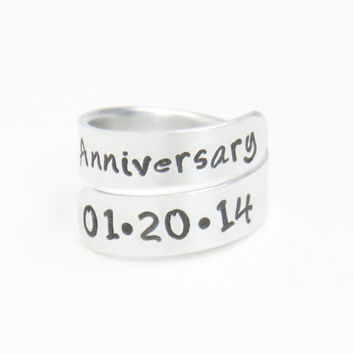 Anniversary ring - Relationship ring - Couple date ring - Husband wife ring -  Girlfriend ring boyfriend ring - Stamped ring