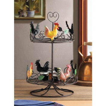 Country Kitchen Decorative Rooster Countertop 2-Tier Wire Rack