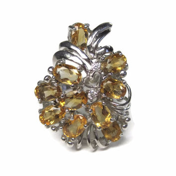 Vintage 4 Carat Yellow Golden Tourmaline Cluster Ring Sterling Size 9