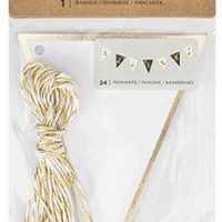 American Crafts Motion DIY 3 Gold Foil White Banners 24 Piece
